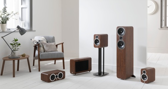 Q Acoustics 3000i Range Walnut Grille Off